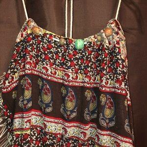 FUNKY PEOPLE Dress Boho Hippie Wooden Beaded S